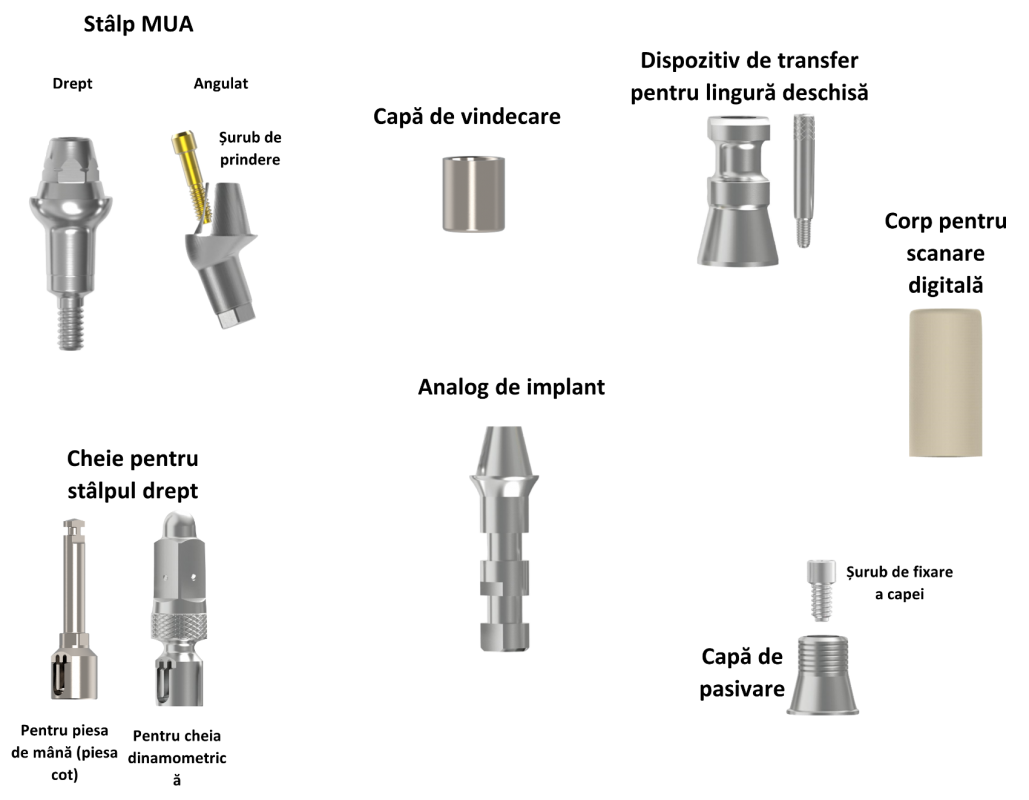identificare componente Sistem Multi Unit Abutment (MUA)